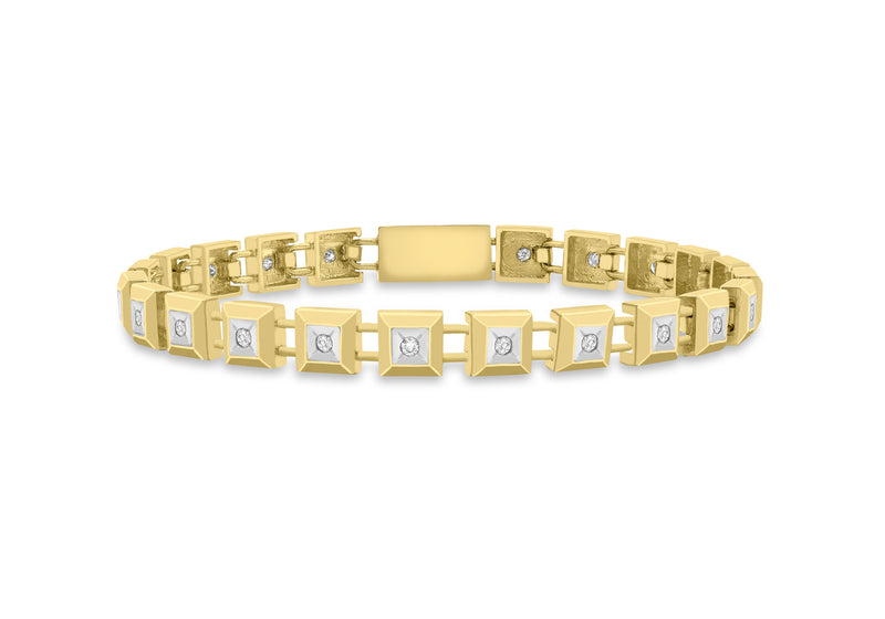 "9ct Yellow Gold 0.50ct Diamond Square Link Bracelet 19m/7.5""9"