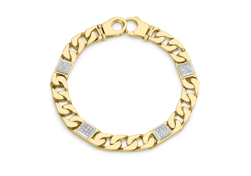 "9ct Yellow Gold 0.30t Diamond Men's Square Link Curb Bracelet 20.3m/8""9"