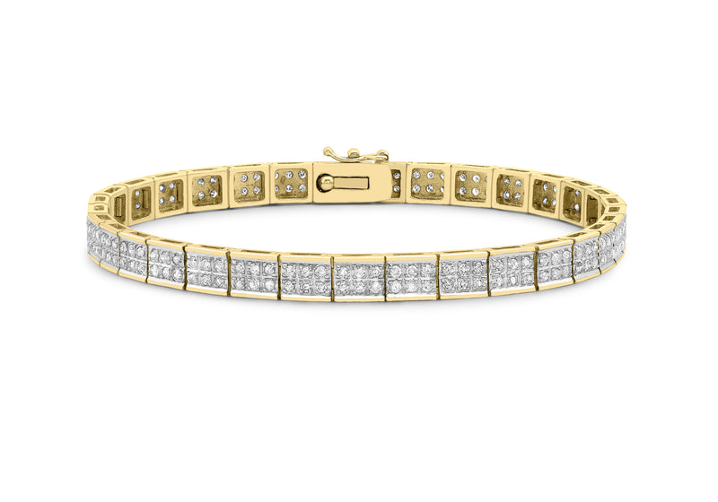 "9ct Yellow Gold 1.65t Diamond Double Row Bracelet 18.5m/7.25""9"