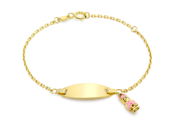 9ct Yellow Gold Enamel Girl Charm Child's ID Adjustable Bracelet