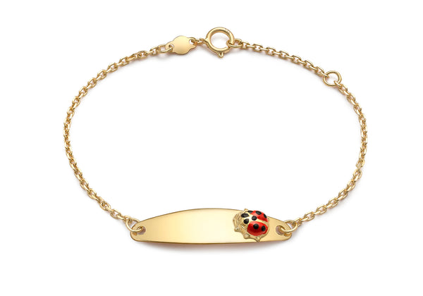 9ct Yellow Gold ID Ladybird-Detail Child's Adjustable Bracelet