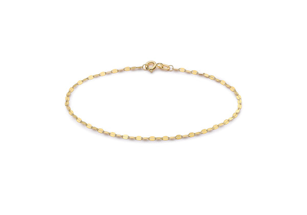"9ct Yellow Gold Sparkle Forzatina Chain Bracelet 18.5m/7.25""9"