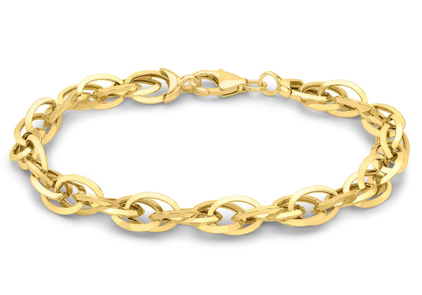 9ct Yellow Gold Triangle Tube Prince Of Wales Bracelet