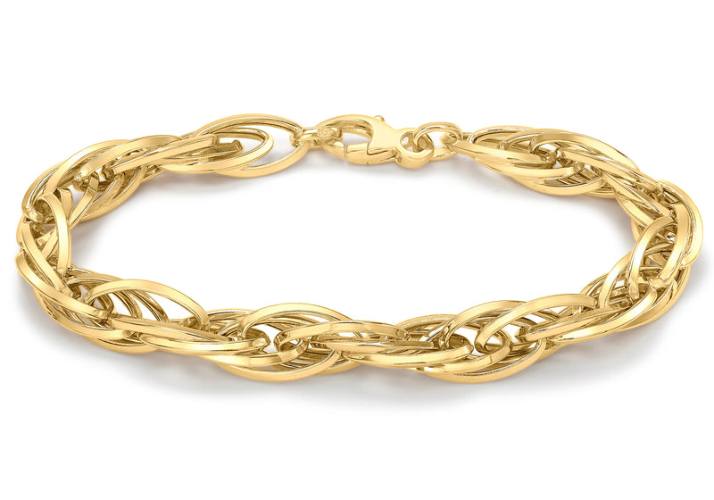 9ct Yellow Gold Twisted Oval Link Bracelet
