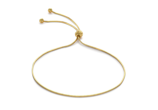 9ct Yellow Gold Snake Chain Adjustable Bracelet