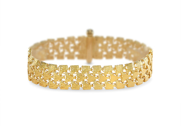9ct Yellow Gold Three Row Lace Style Bracelet