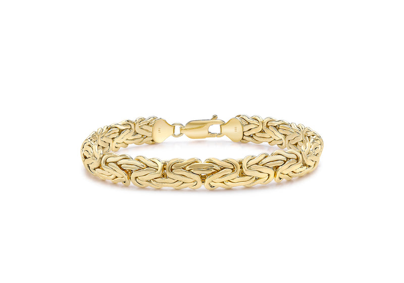 "9ct Yellow Gold 8mm Domed Byzantine Chain Bracelet 19m/7.5""9"