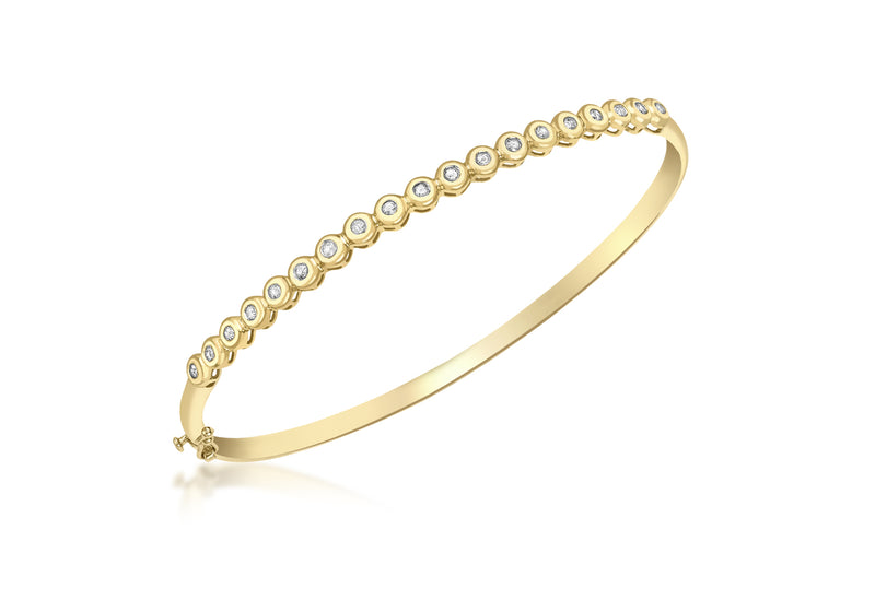 9ct Yellow Gold 0.26t Diamond DoughnCut Row Bangle