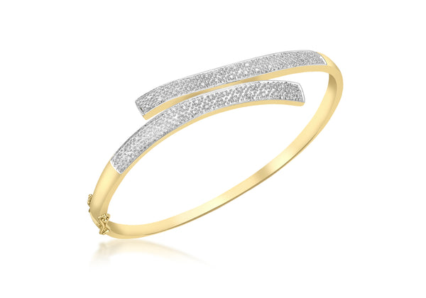 9ct Yellow Gold 0.25t Pave Set Diamond Bangle