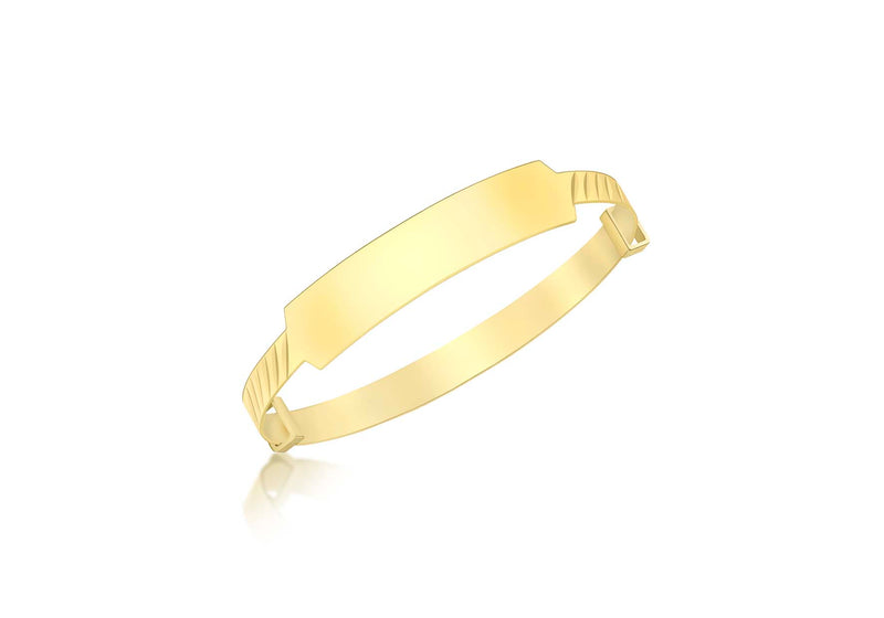9ct Yellow Gold ID Diamond Cut Oblique Expandable Baby Bangle