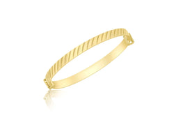 9ct Yellow Gold Diamond Cut Oblique Expandable Baby Bangle