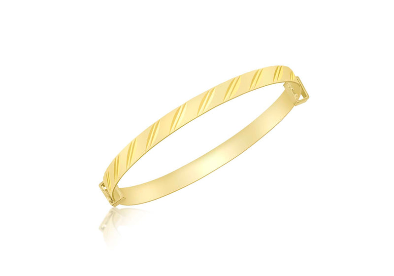 9ct Yellow Gold Diamond Cut Double Oblique Expandable Baby Bangle