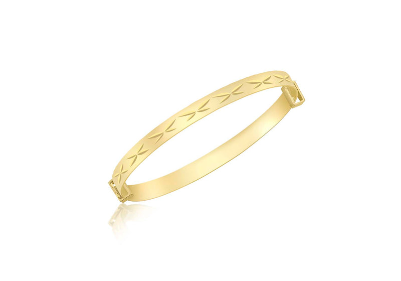 9ct Yellow Gold Diamond Cut 'Kiss' Expandable Baby Bangle