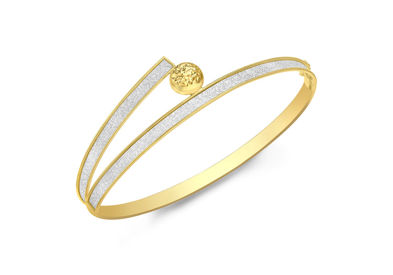 9ct Yellow Gold Diamond Cut Dome Crossover Stardust Bangle