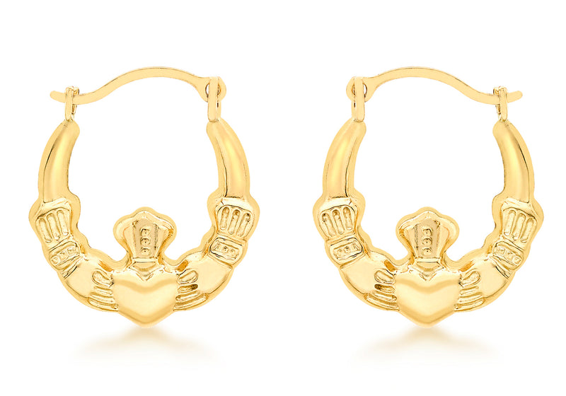 9ct Yellow Gold Claddagh Creole Earrings