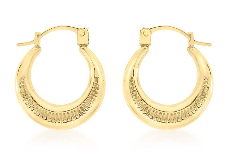 9ct Yellow Gold Ribbed Round Creole Earrings