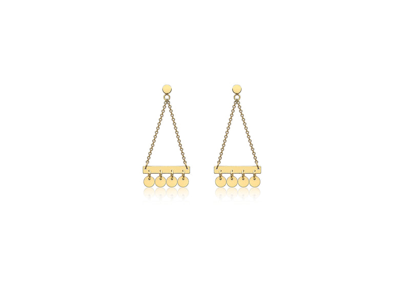 9ct Yellow Gold Bar and Hanging Discs Drop Earrings