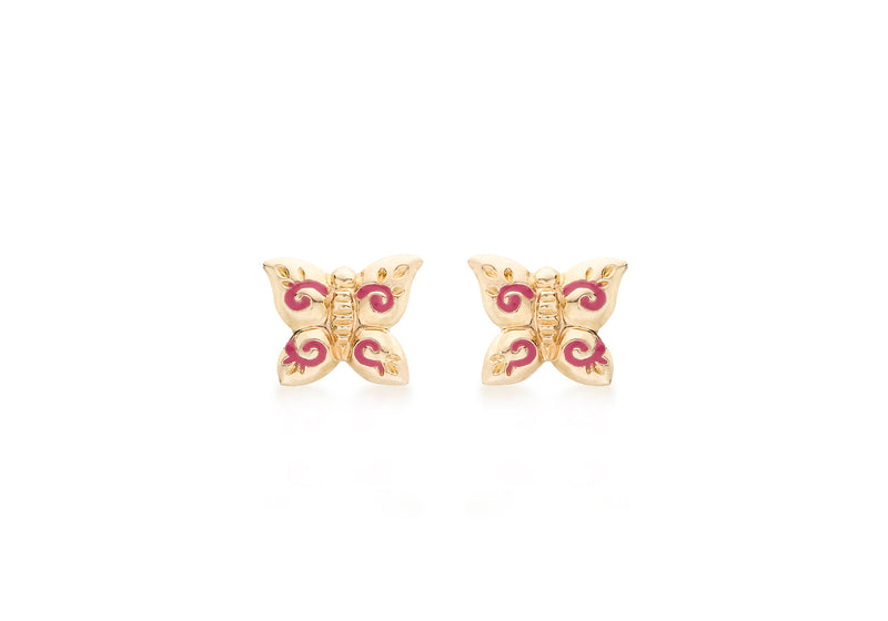 9ct Yellow Gold Pink Enamel Butterfly Stud Earrings