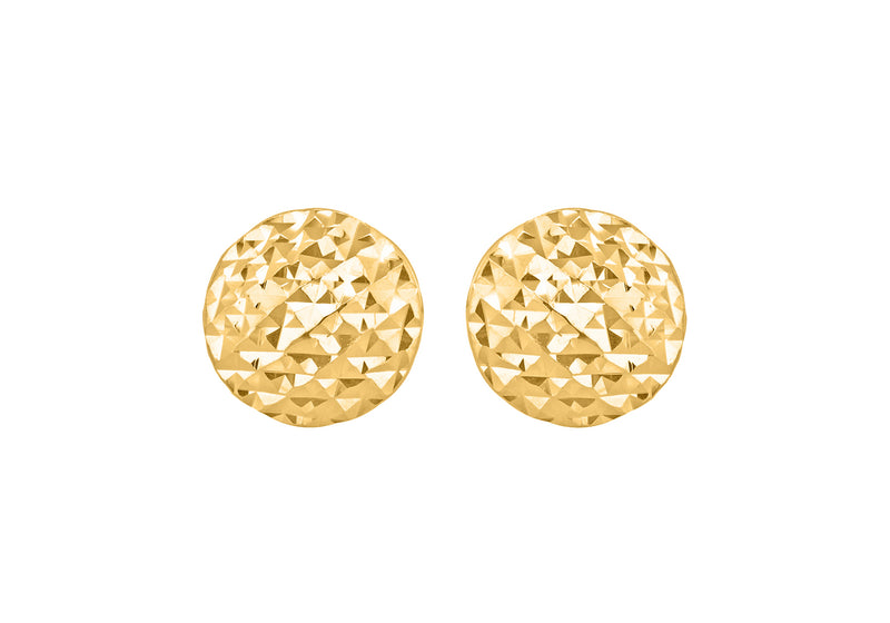 9ct Yellow Gold 7.7mm Diamond Cut Pyramid Button Stud Earrings