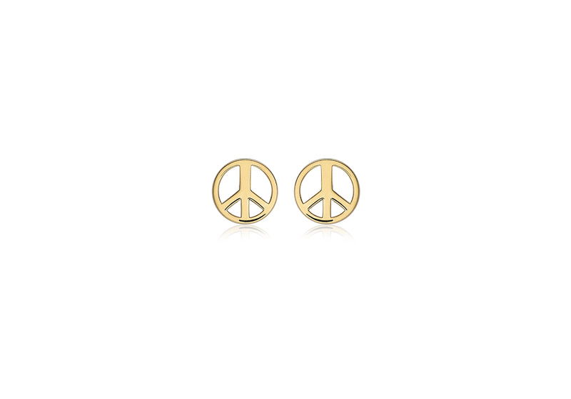 9ct Yellow Gold Peace Sign Stud Earrings