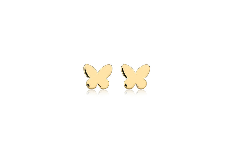 9ct Yellow Gold Butterfly Stud Earrings
