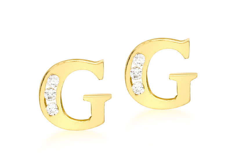 9ct Yellow Gold Zirconia  Set 'G' Initial Stud Earrings