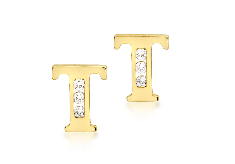 9ct Yellow Gold Zirconia  5mm x 7mm 'T' Initial Stud Earrings