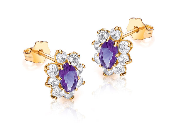 9ct Yellow Gold Purple and White Zirconia Marquise Cluster Stud Earrings