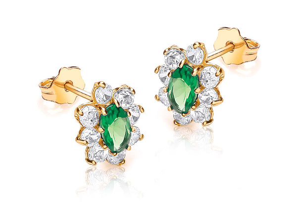 9ct Yellow Gold White and Oval Green Zirconia  Flower Cluster Stud Earrings