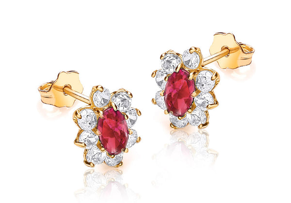 9ct Yellow Gold Red and White Zirconia Stud Marquise Cluster Earrings