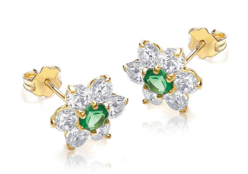 9ct Yellow Gold Green and White Zirconia Flower Cluster Stud Earrings