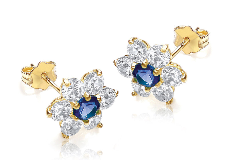 9ct Yellow Gold Blue and White Zirconia  10mm x 10mm Flower Cluster Stud Earrings
