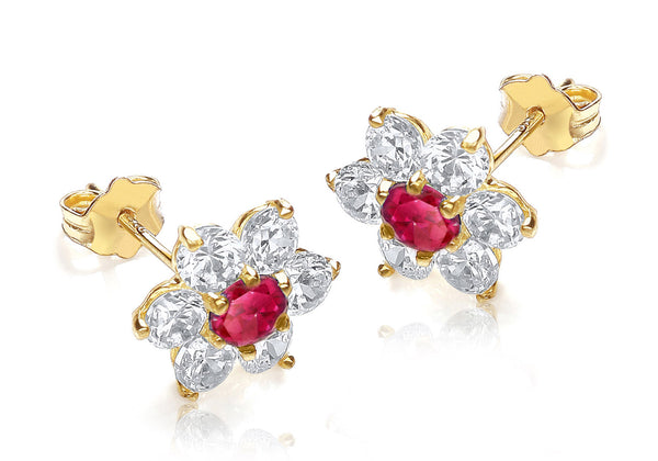 9ct Yellow Gold Red and White Zirconia  10mm x 10mm Flower Cluster Stud Earrings