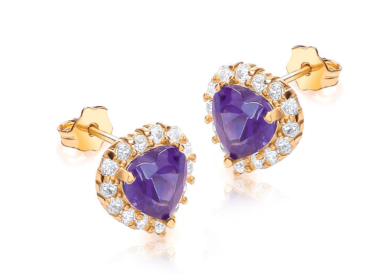 9ct Yellow Gold Purple and White Zirconia  Heart Cluster Stud Earrings