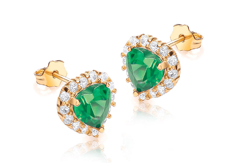 9ct Yellow Gold Green Crystal and White Zirconia  Stone Heart Cluster Stud Earrings