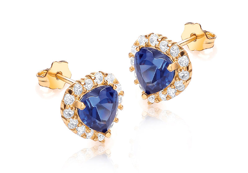 9ct Yellow Gold Blue and White Zirconia  9mm x 9mm Heart Cluster Stud Earrings