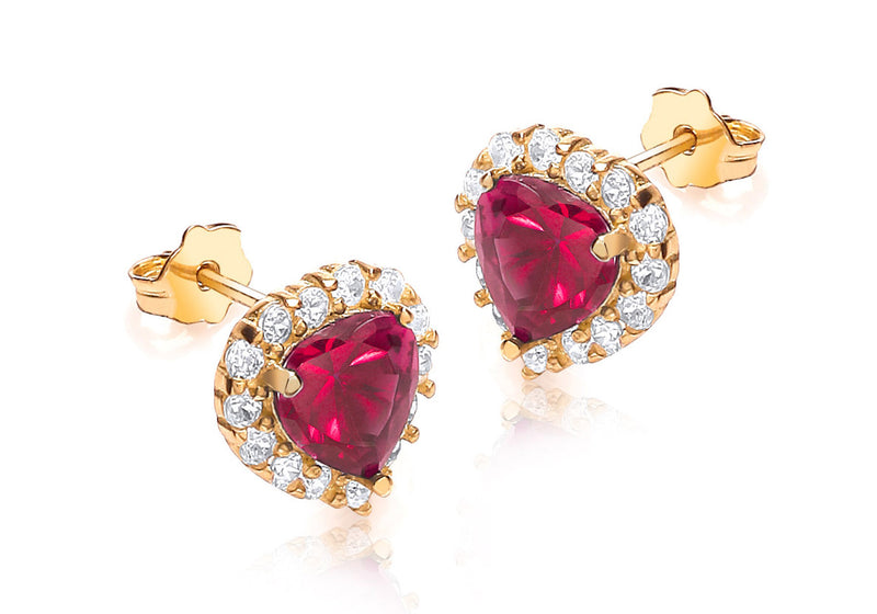 9ct Yellow Gold Red and White Zirconia  9mm x 9mm Heart Cluster Stud Earrings