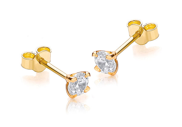 9ct Yellow Gold Round Zirconia  4mm Stud Earrings