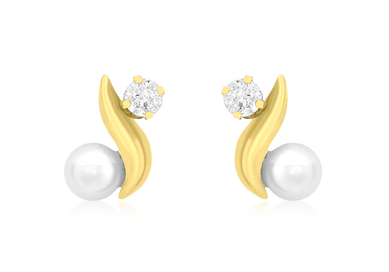 9ct Yellow Gold Zirconia  and Pearl 7mm x 10mm Kiss Stud Earrings