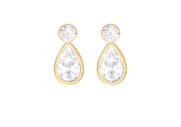 9ct Yellow Gold Round Zirconia & Teardrop Zirconia Stud Earrings