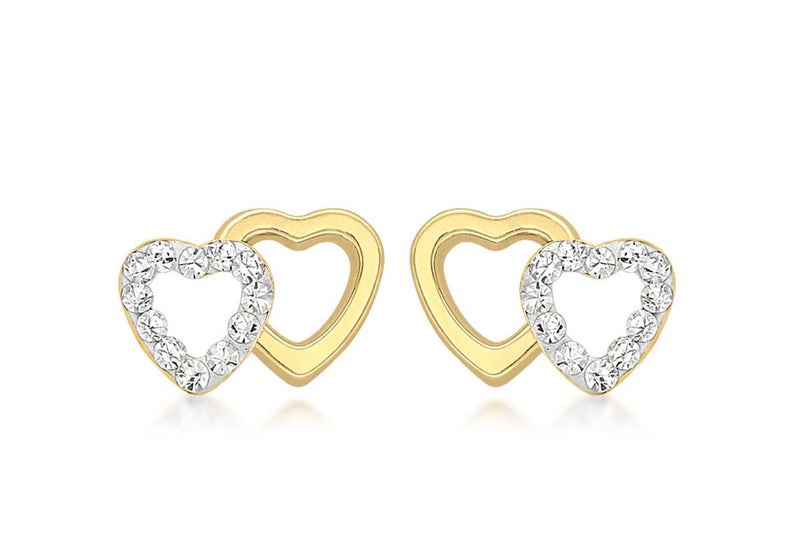 9ct Yellow Gold Pave Set Zirconia  Double Open-Heart Stud Earrings