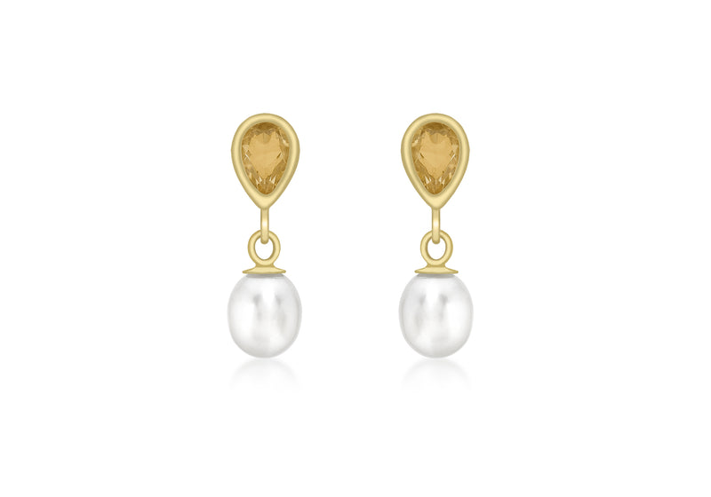9ct Yellow Gold   and Fresh Water Pearl Drop Earrings