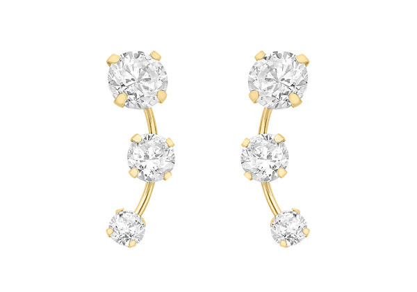 9ct Yellow Gold Triple Zirconia  Graduated urve Stud Earrings