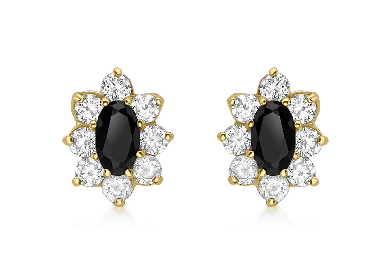 9ct Yellow Gold Oval Black Sapphire and Zirconia Stud Earrings
