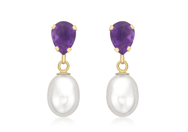 9ct Yellow Gold Amethyst and Pearl Teardrop Earrings