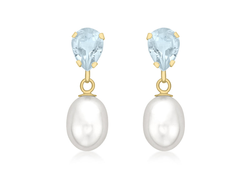 9ct Yellow Gold Blue Topaz and Pearl Teardrop Earrings
