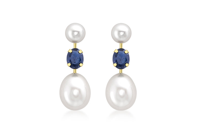 9ct Yellow Gold Sapphire and Double Pearl Stem Drop Earrings