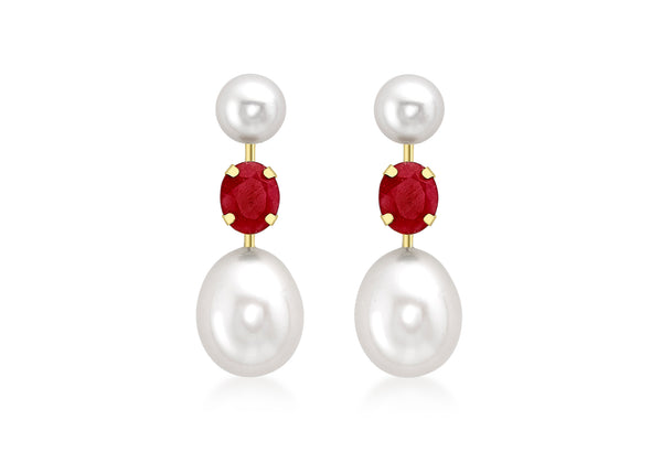 9ct Yellow Gold Ruby and Fresh Water Pearls Stem Drop Earrings