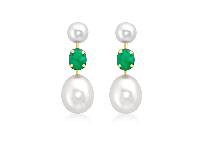 9ct Yellow Gold Emerald and Double Pearl Stem Drop Earrings