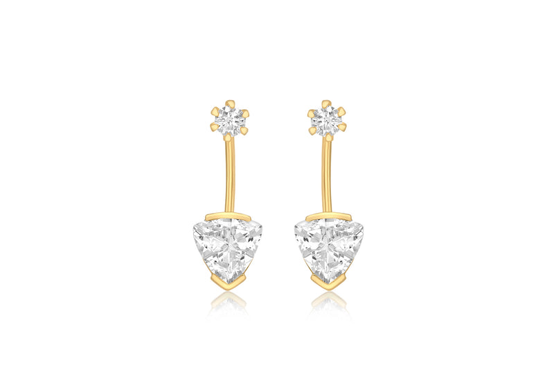 9ct Yellow Gold Round and Triangle Zirconia  Jack Earrings
